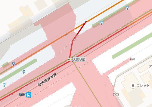GoogleMapの大阪駅前の地図
