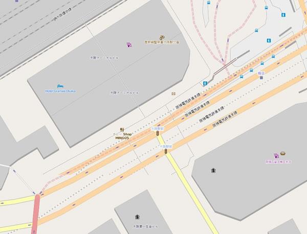 OpenStreetMapでの大阪駅前の地図の様子