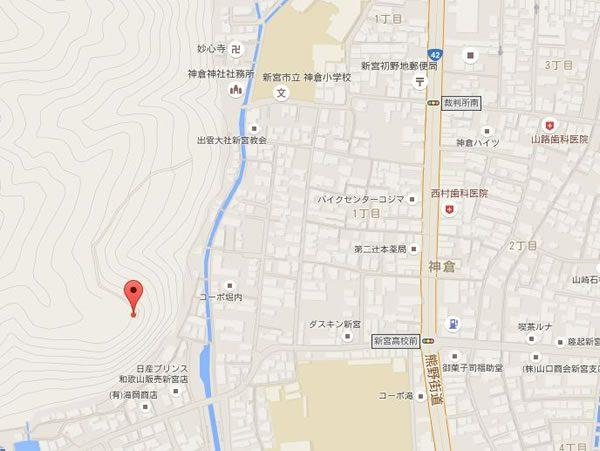 上記の神倉神社の撮影場所GPSなので正確だ