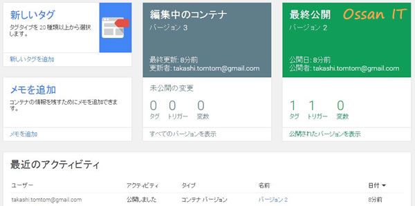 Google Tag Managerのコンソール画面